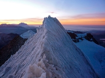Sunrise on the summit of Huayna Potosi Bolivia