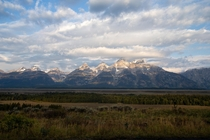 Sunrise on the Teton Mountain Range in between Teton Village and Moose Wyoming