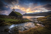 Sunrise over a little church on the Faroe Islands