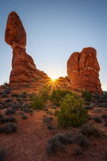 Sunrise over Balanced Rock in Arches National Park