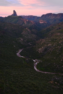 Sunrise over Boulder Canyon Superstition Wilderness Arizona