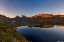 Sunrise over Dove Lake Cradle Mountain in Tasmania Australia from Glacier Rock by Paul Pichugin