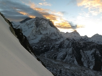 Sunrise over Everest and Makalu taken from Lobuche Easts summit ridge at around m