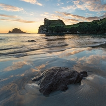 Sunrise over Hahei Beach North Island New Zealand