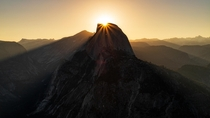 Sunrise over Half Dome Yosemite National Park CA USA