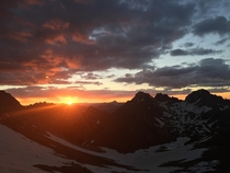 Sunrise over Jagged Peak in the San Juan Mountains CO USA