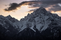 Sunrise over Kinner Kailash Himachal Pradesh India as seen from Kalpa