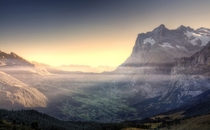 Sunrise over Kleine Scheidegg Canton Bern Switzerland  Photo by Wolfgang Staudt