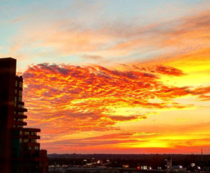 Sunrise over Louisville KY looks like a wave of fire in the sky
