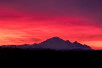 Sunrise over Mount Baker WA as seen from New Westminster BC
