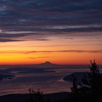 Sunrise over Mt Rainier Taken from the summit of Mt Constitution -Orcas WA