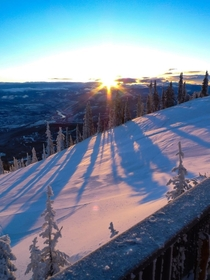 Sunrise over Red Mountain Resort British Columbia The beginning of what was an epic powder day