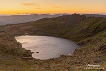 Sunrise over Red tarn and Striding edge The Lake District