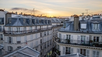 Sunrise over rooftops in Pigalle Paris
