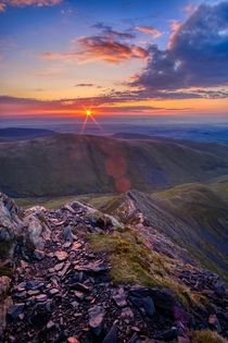 Sunrise over Sharp Edge Blencathra Lake District