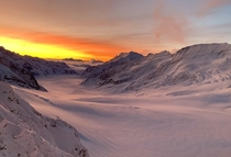 Sunrise over the Aletsch Glacier in Switzerland shot from the High Altitude Research Station on the Jungfraujoch