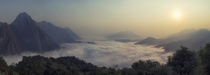 Sunrise over the clouds in Nong Khiaw Laos
