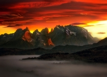 Sunrise over the Cuernos del paine mountains in Torres Del Paine Chile by Sapna Reddy Photography