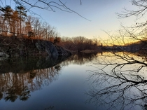 Sunrise over the Esopus Creek on a winter morning in Saugerties NY