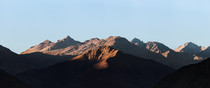Sunrise over the martian-like mountains of Valle del Elqui Chile