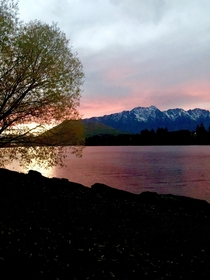 Sunrise over the Remarkables and lake Wakatipu Queenstown