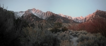 Sunrise shining on Mt Whitney Inyo County California