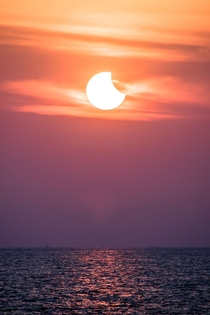 Sunrise Solar Eclipse over the Andaman Sea Myanmar