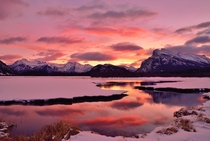 Sunrise - the Vermilion Lakes in Banff NP in the Canadian Rockies  photo by Shuchun Du