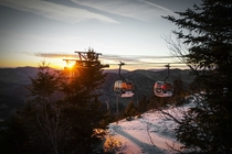 Sunrise through the gondola on Whiteface