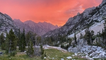Sunrise unfortunately enhanced by haze rolling in from California wildfires Cascade Canyon Grand Teton National Park