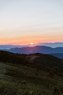 Sunrise view from Max Patch Mountain NC