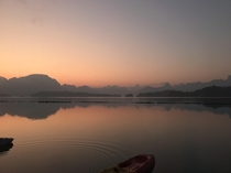 Sunrise view from  Rai Floating Resort  Khao Sok National Park in Thailand