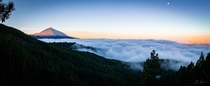 Sunrise while above the cloud line overlooking Mount Teide Tenerife