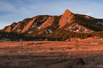 Sunrise with the flatirons in Boulder  Colorado