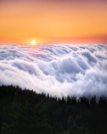 Sunset above the clouds And it resembles the Indian flag