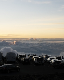 Sunset above the clouds at Haleakal National Park