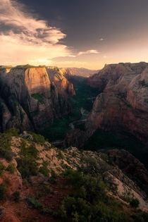Sunset above Zion Canyon one of the most incredible canyons on the planet  feet top to bottom