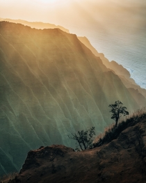 Sunset along the N Pali Coast from a hike down a hunting access route on one of the ridges Kauai HI  IG kylefredrickson