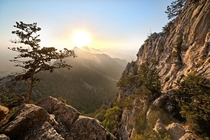 Sunset amongst the peaks of the Kyrenia Mountains Cyprus