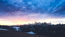 Sunset and city Edmonton Canada