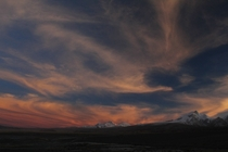 Sunset and phoenix shaped clouds over the Himalayas Tibet