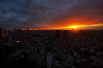 Sunset as seen from the Tokyo Tower in Tokyo Japan