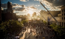 Sunset at a Montreal music festival