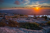 Sunset at Cadillac Mountain Acadia National Park - Maine USA