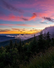 Sunset at Clingmans Dome in Great Smokey Mountains National Park