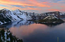 Sunset at Crater Lake Oregon  by Cole Chase