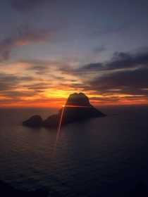 Sunset at Es Vedr off the North shore of Ibiza Spain- boasting to be the third most magnetic point in that world not confident that science supports this Although watching this sunset left me feeling all tingly inside