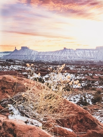 Sunset at Fisher Towers outside of Moab UT