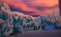 Sunset at Ice Castles in MidwayUtah