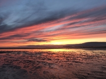 Sunset at low tide over the beaches of Cape Cod Massachusetts